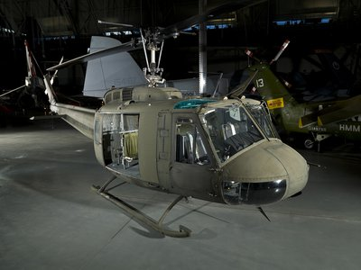 This UH-1, on view at the Smithsonian Udvar-Hazy Center in Chantilly, Virginia, compiled a distinguished combat record in Vietnam from 1966 to 1970.