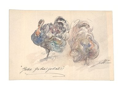 Walter Shirlaw watercolor of two turkeys, ca. 1903-1919. Dorothea A. Dreier papers, 1881-1941, bulk 1887-1923. Archives of American Art, Smithsonian Institution.