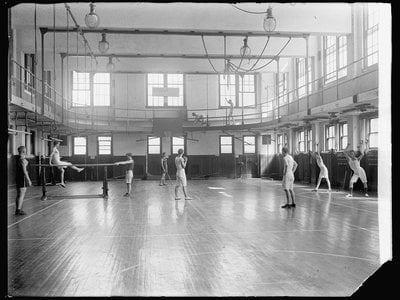 A YMCA gym in 1910.