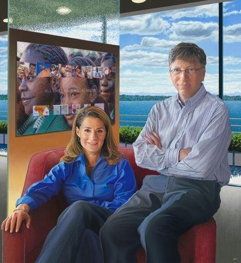 Portrait of global philanthropic team Bill and Melinda Gates by Jon Friedman, 2011