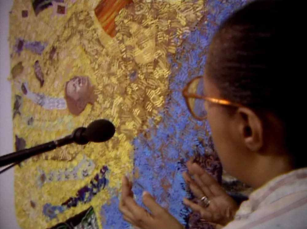 Still from video interview of Howardena Pindell, 1991.