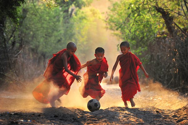 Burmese novices are laying Soccer in the evening.This is innocent life of childhood and happy times. thumbnail