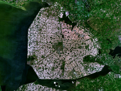 A satellite image of the Noordoostpolder, a Dutch municipality where the four settlements were found