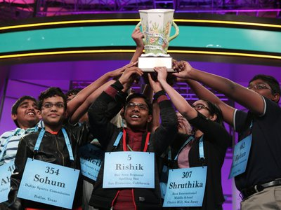 The winning spellers made history with eight co-champions, the most number in the spelling event history.