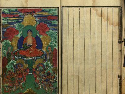 Illustration from woodblock-printed text on the life of Gautama Buddha