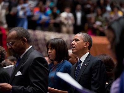 The Obamas worship at African Methodist Episcopal Church in Washington, D.C.