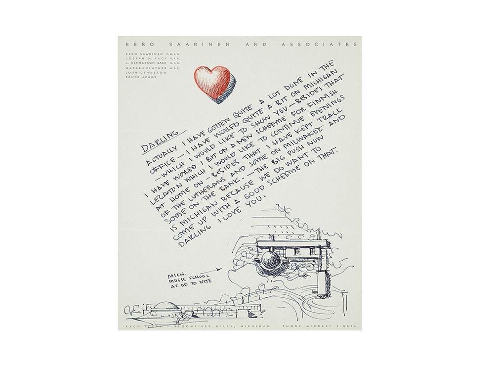 Eero Saarinen letter to Aline B. Saarinen, 1953. Aline and Eero Saarinen papers, 1906-1977. Archives of American Art, Smithsonian Institution.