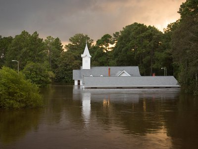 Hurricane Florence causes severe flooding to a church and surrounding areas in Spring Lake, NC, Sept. 17, 2018.