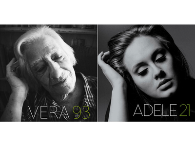93-year-old Vera recreates Adele's 21 album cover.