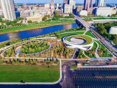 View of the National Veterans Memorial and Museum from above.