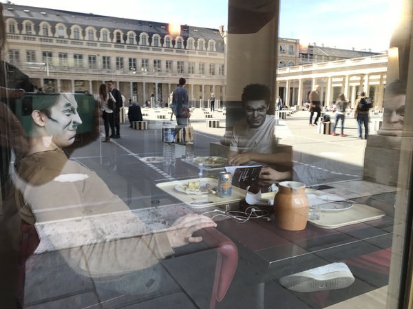 Actors from La Comedie Francaise having lunch.  thumbnail