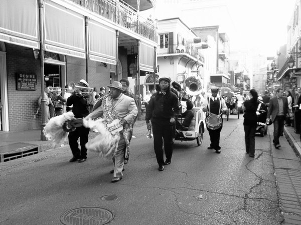A Second Line Band leading a Jazz funeral on Bourbon Street thumbnail