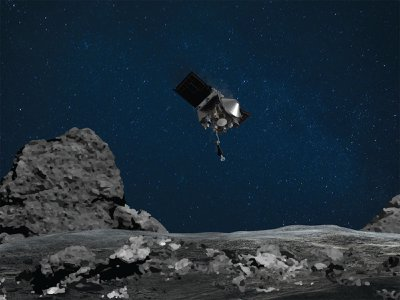 This artist's rendering shows the OSIRIS-REx spacecraft descending towards asteroid Bennu to collect a sample.