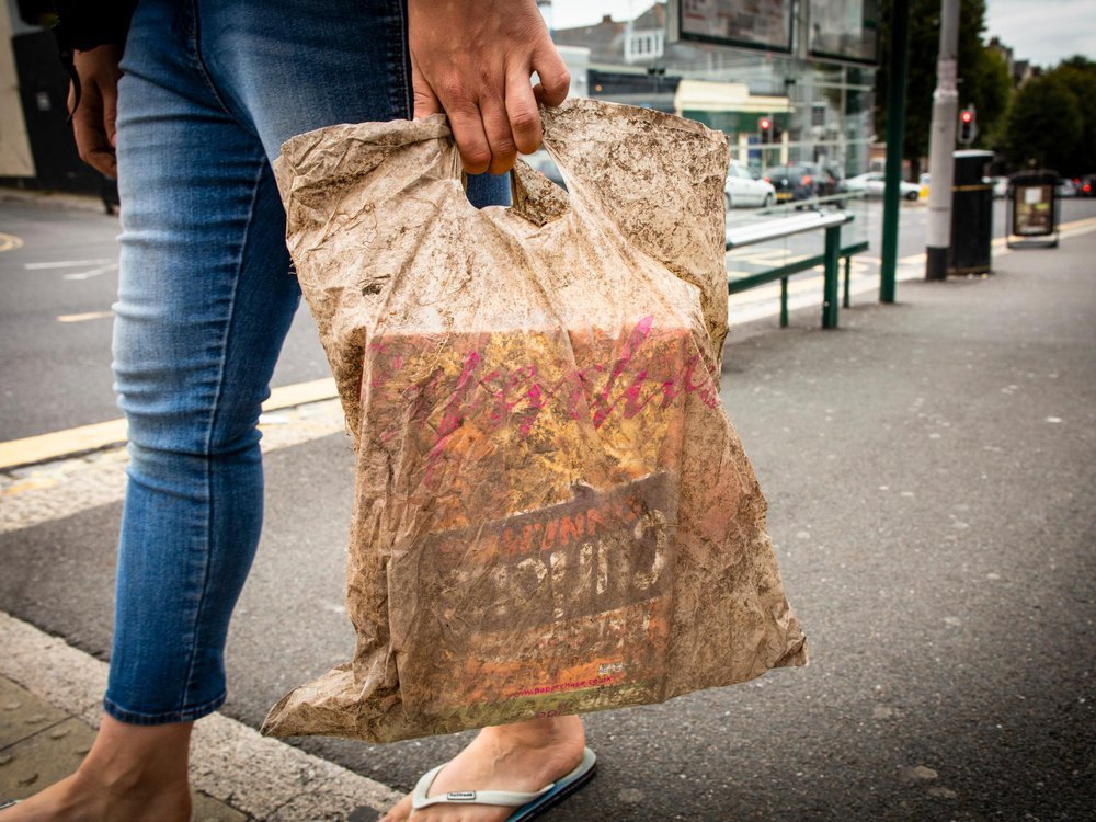 A plastic bag submerged in soil for three years could still hold a full load of shopping (Picture Lloyd Russell, University of Plymouth).jpg