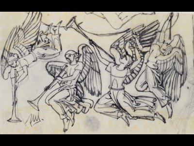 Paul Manship, Four Angels (sketch for Altar Triptych, American Military Cemetery, Anzio, Italy), ca. 1955, pen and ink and pencil on paper, Smithsonian American Art Museum, Bequest of Paul Manship, 1966.47.147