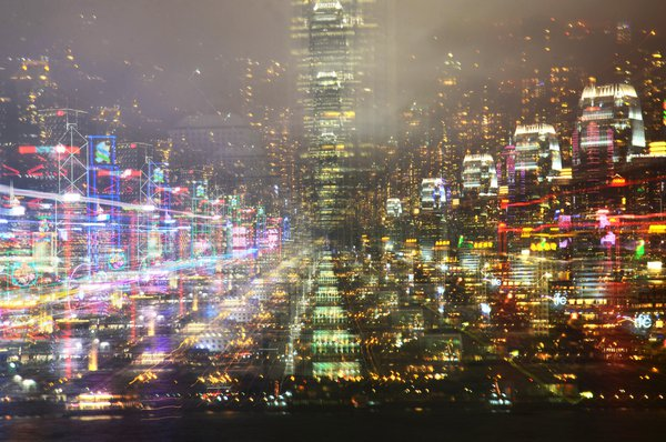 Light painting with the Hong Kong skyline thumbnail