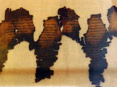Fragments of the Dead Sea Scrolls, considered one of the greatest archeological discoveries of the 20th century, are displayed 18 June 2003 at Montreal's Pointe-a-Callieres Archeological Museum