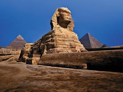 Carved in place from limestone, the Sphinx is among the world's largest statues.