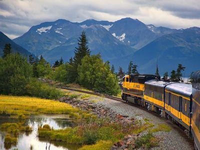 A train heads to Seward, Alaska.