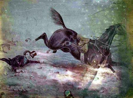 Hillotype of a print depicting a man fallen from a horse, color pigments applied