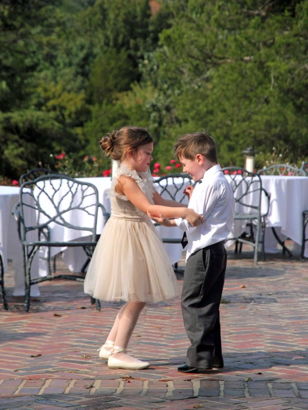 Ring Bearer and Flower Girl Enjoy the Bride and Groom's First Dance thumbnail