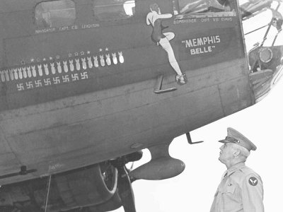"""Aviation pioneer Henry """"Hap"""" Arnold (above: with the Fly Fortress """"Memphis Bell"""") lead the Army Air Force to victory in World War II and later establish the U.S. Air Force as the best in the world."""