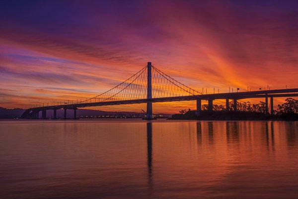 Sunrise at Newly Built Bay Bridge East Span thumbnail