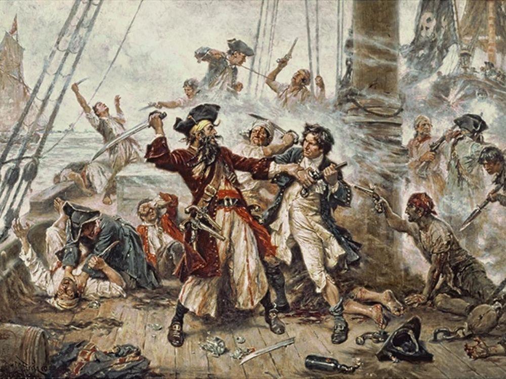 Capture of the Pirate, Blackbeard, 1718, Jean Leon Gerome Ferris, painted in 1920