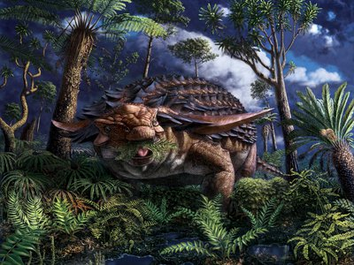 An artist's rendering shows the armored dinosaur Borealopelta markmitchelli eating ferns, which new research shows made up the majority of its diet.