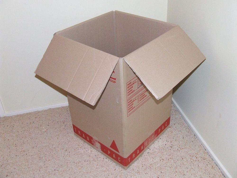 An empty box made of corrugated fiberboard