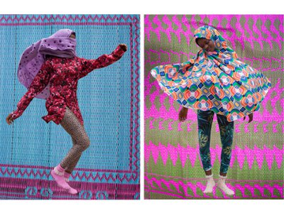 Dugger makes a stylish statement by superimposing vibrant images of women jumping and twirling over photographs of patterned mats common in Nigeria.