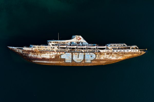 An aerial view of the Mediterranean Sky wrecked ship. thumbnail