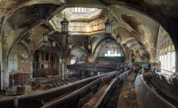 Interior of the abandoned Woodward Presbyterian church in Detroit. thumbnail