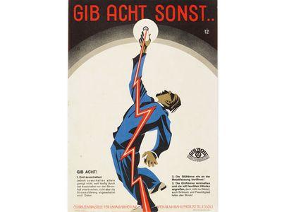 Poster, Gib acht sonst . . [Be Careful or Else . .], 1929–30.
