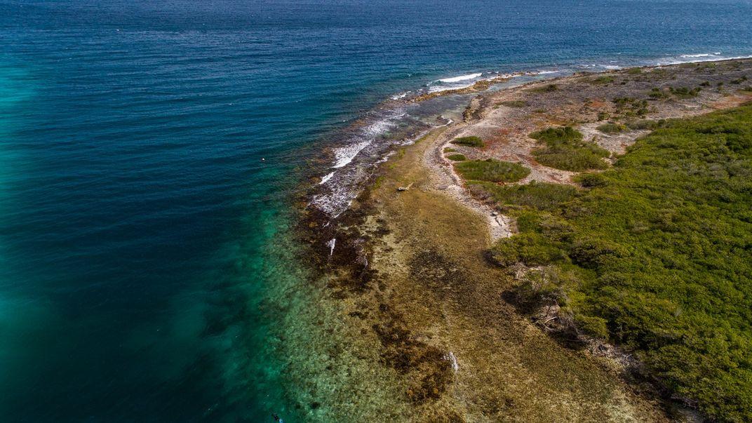 An aerial photo of a coastline on the island of Curacao