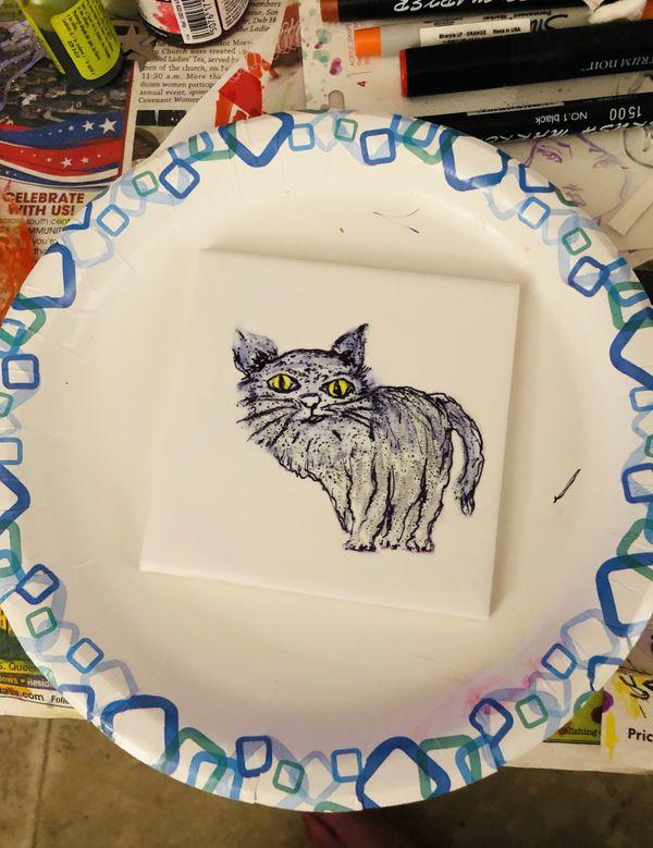 Black Cat on Tile thumbnail