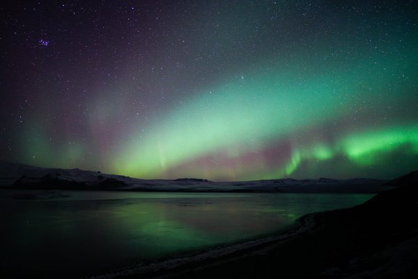 Aurora Borealis over Jökulsárlón lagoon, Iceland thumbnail