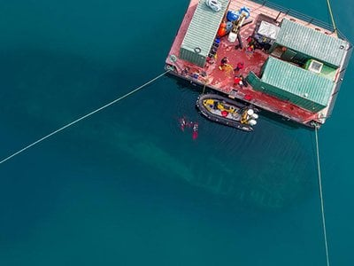Drone image above the wreck of HMS Erebus