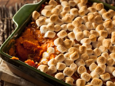 The marshmallows are essential, but the sweet potato is the heart of this classic dish.