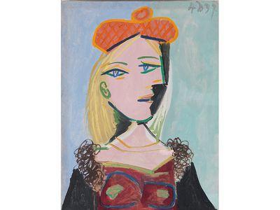 Femme au beret orange et au col  de fourrure (Marie Thérèse), by Pablo Picasso, 1937