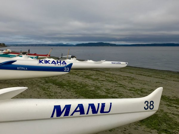 Lineup for a traditional outrigger canoe race at Alki Beach thumbnail