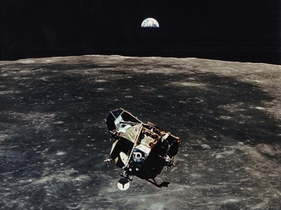 The ascent module (pictured) may still be orbiting the moon—or it exploded. According to the new calculations, the space junk never crash-landed onto the moon's surface as previously expected.