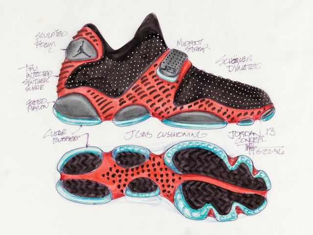 Tinker Hatfield's game-changing design for the Air Jordan XIII in pen and crayon, dated 1996.