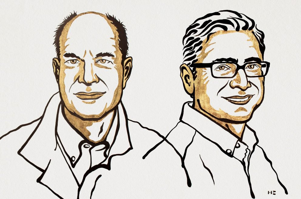 Black and yellow illustration of the two nobel prize winners, David Julius and Ardem Patapoutian.