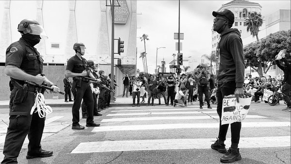 Police and protestors meet face to face on the Sunset Strip. thumbnail