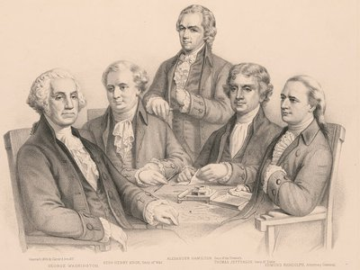 """""""Washington and His Cabinet"""" lithograph by Currier & Ives"""