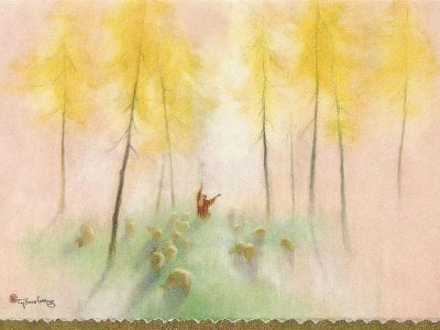 One of Tyrus Wong's popular holiday cards.