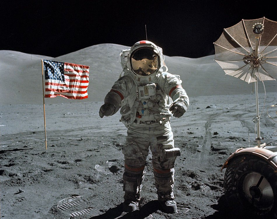 Eugene Cernan on the surface of the Moon, December 1972.