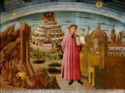 This 1465 fresco by Domenico di Michelino depicts Dante, holding a copy of The Divine Comedy, next to the entrance to hell.