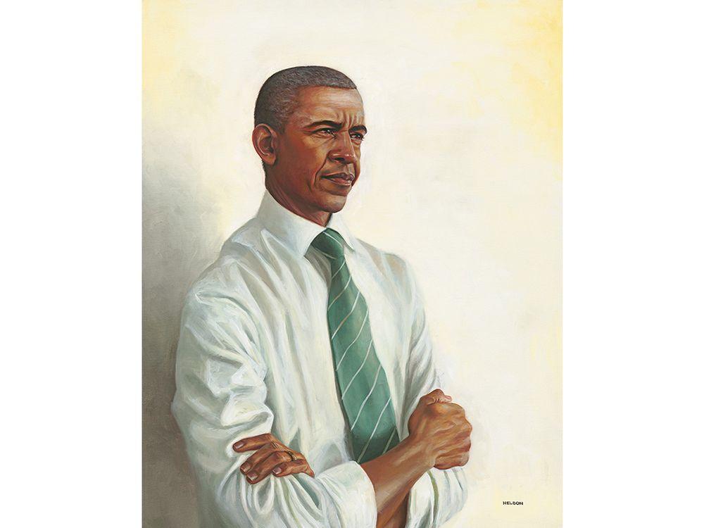 Oil portrait of Barack Obama